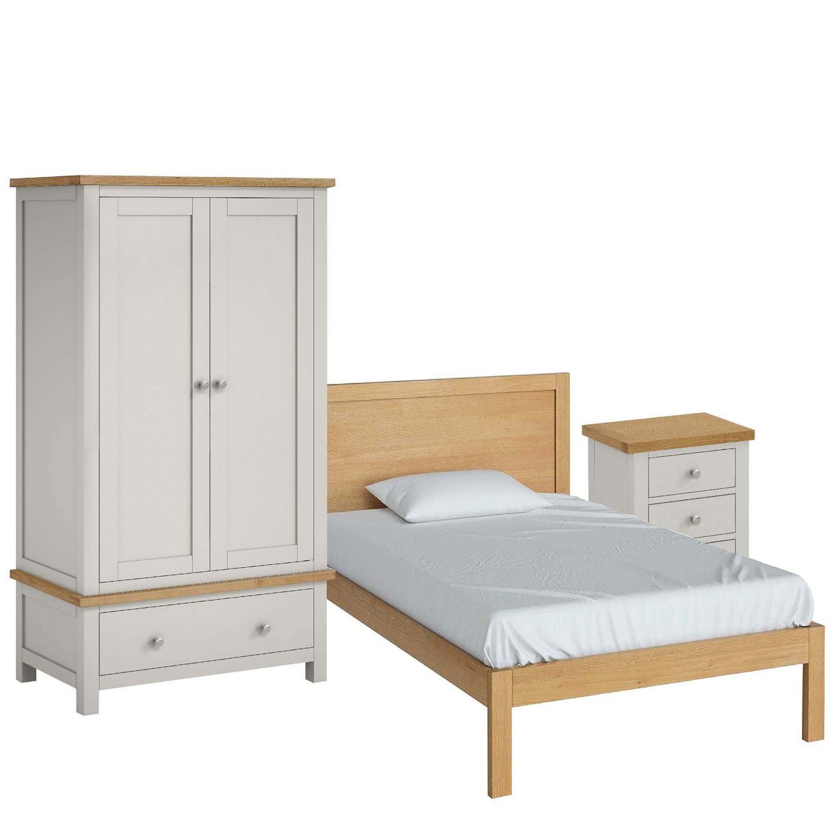 Farrow Grey Bedroom Set with 4ft Bed by Roseland Furniture