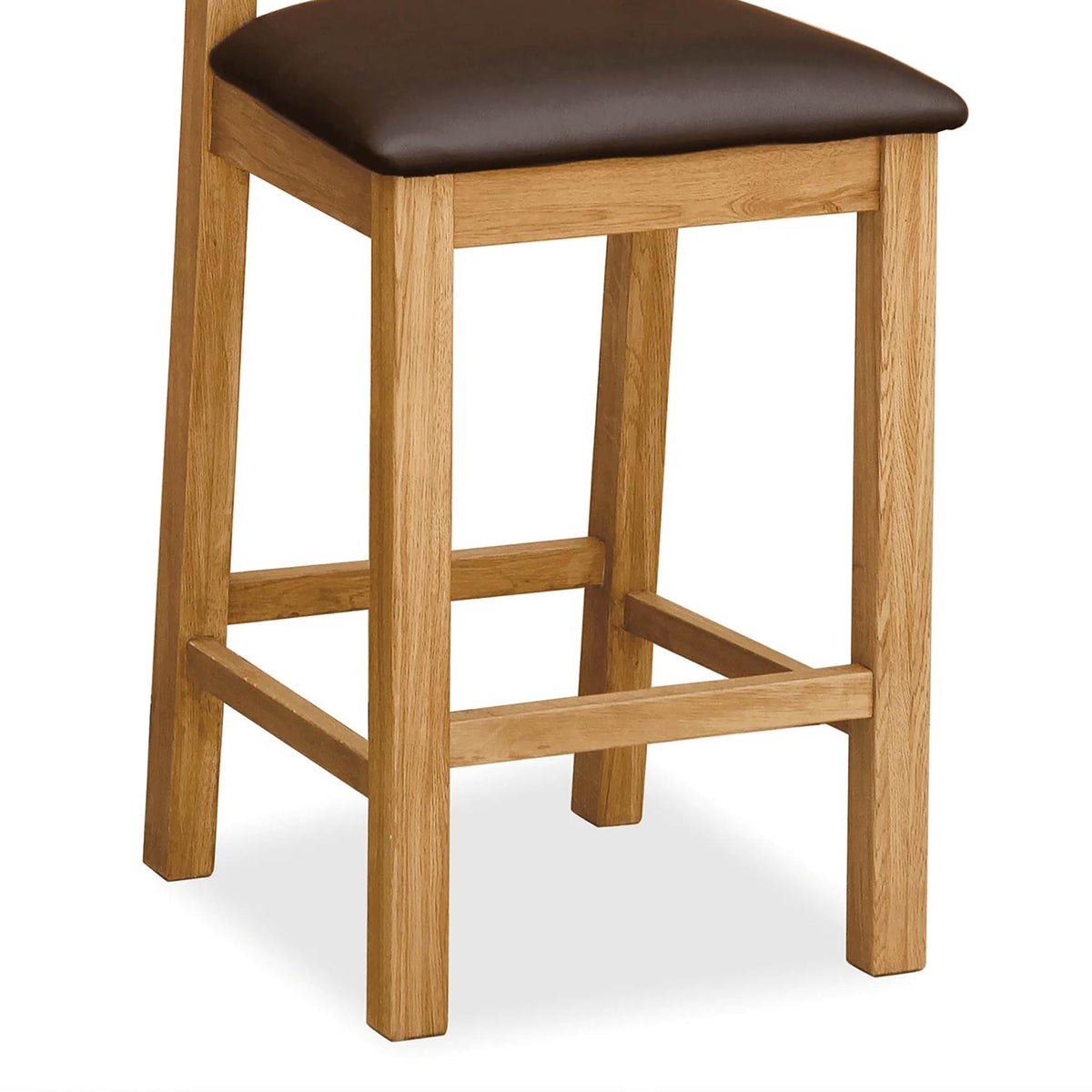 Sidmouth Oak Crossed Back Bar Stool - Close Up of Legs and Padded Seat