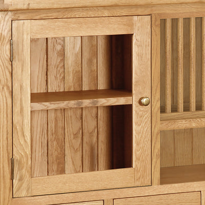 Zelah Oak Extra Large Hutch - Close Up of Hutch Display Cupboard