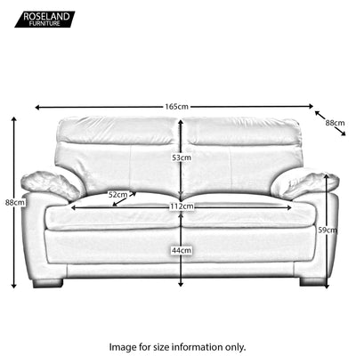 Hugo 2 Seater Leather Sofa - Size Guide