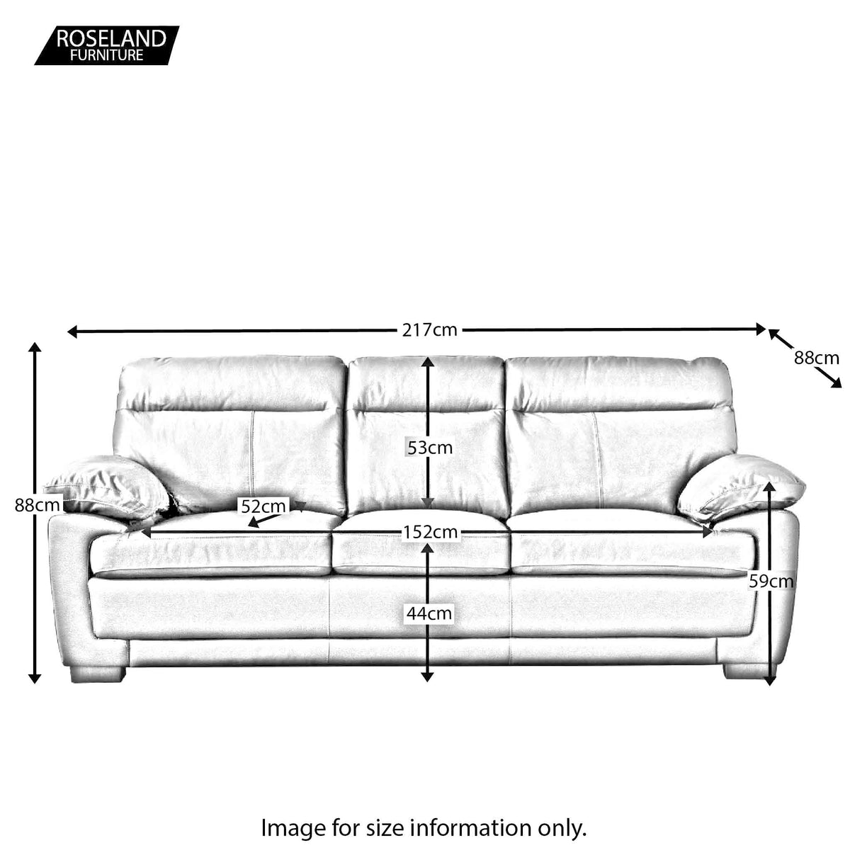 Hugo 3 Seater Leather Sofa - Size Guide