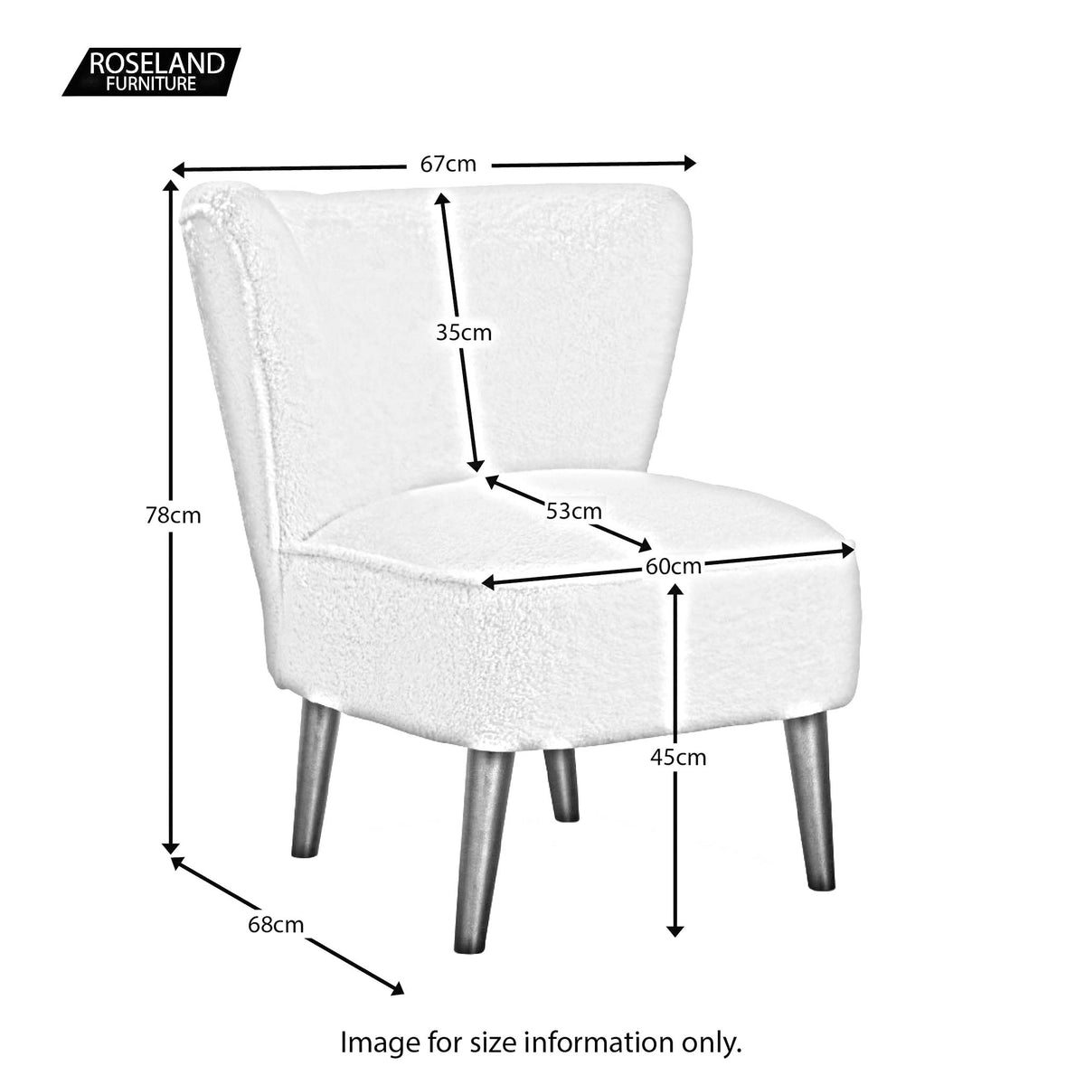 Malmesbury Teddy Accent Chair - Size Guide