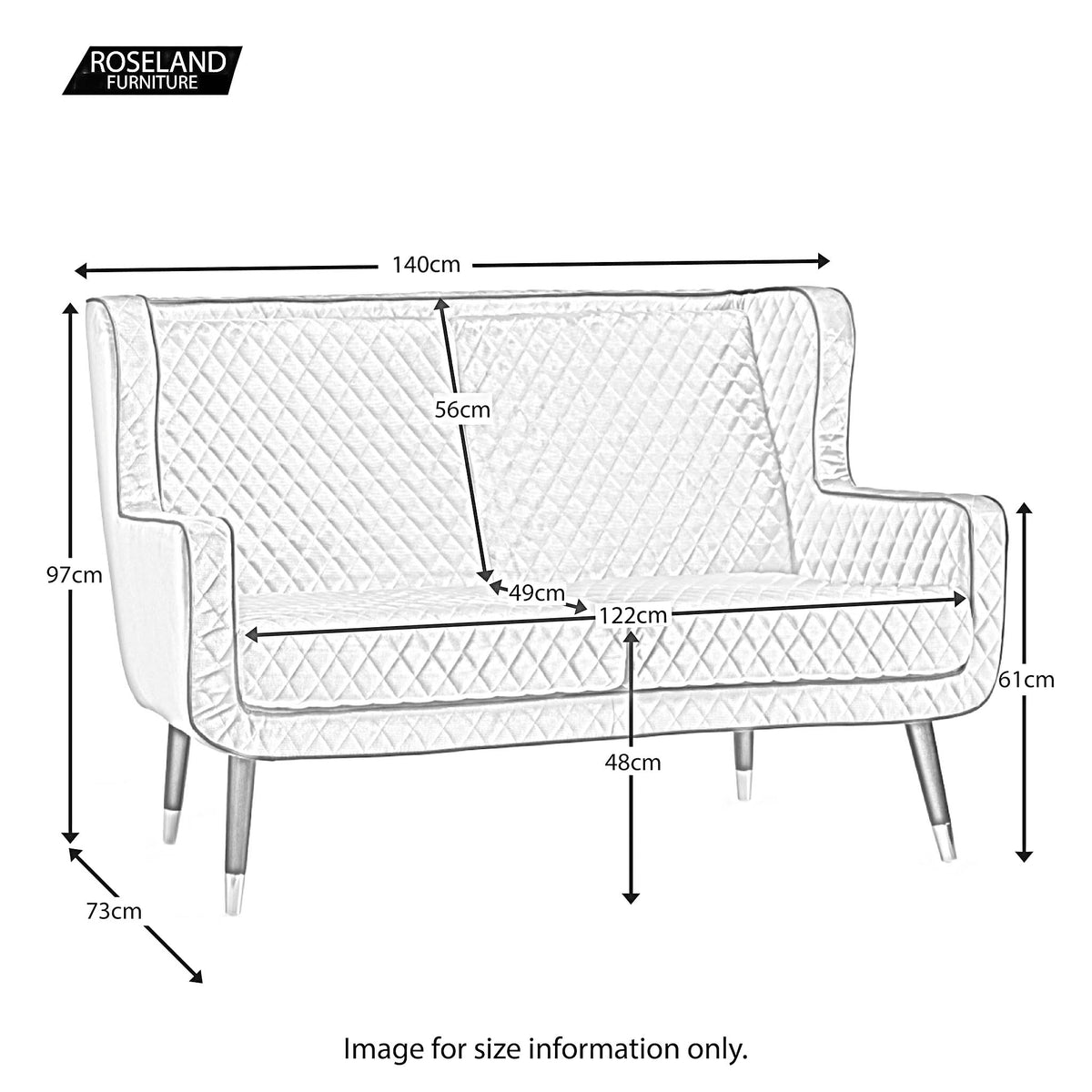 Monty Two Seater Chair - Size Guide