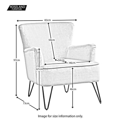 Size guide - Oasis Velvet Accent Chair