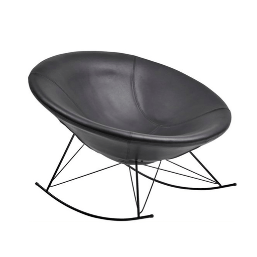 Ozzy Round Rocking Chair - Black Leather