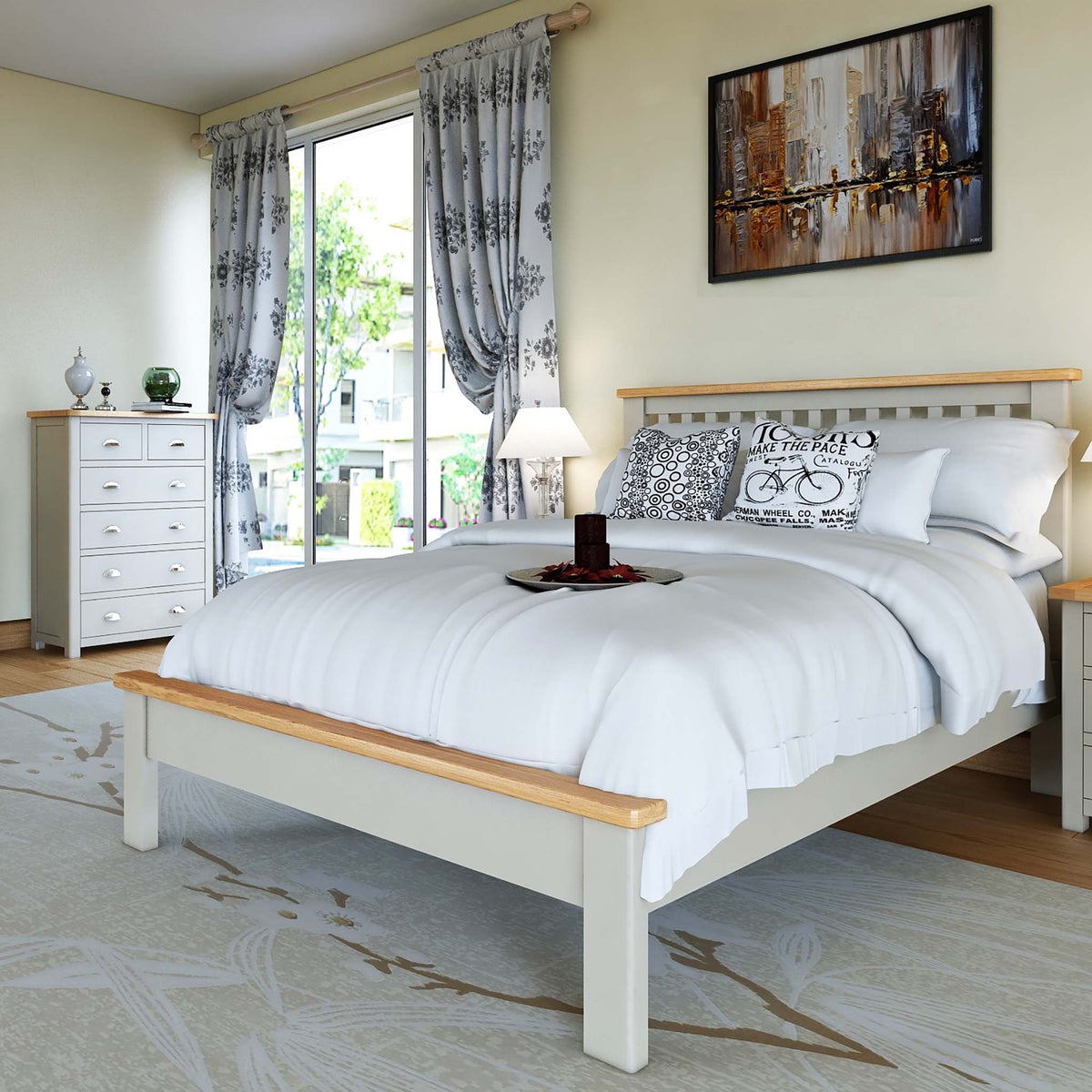 The Padstow Grey 5 ft King Size Bed Frame - Lifestyle