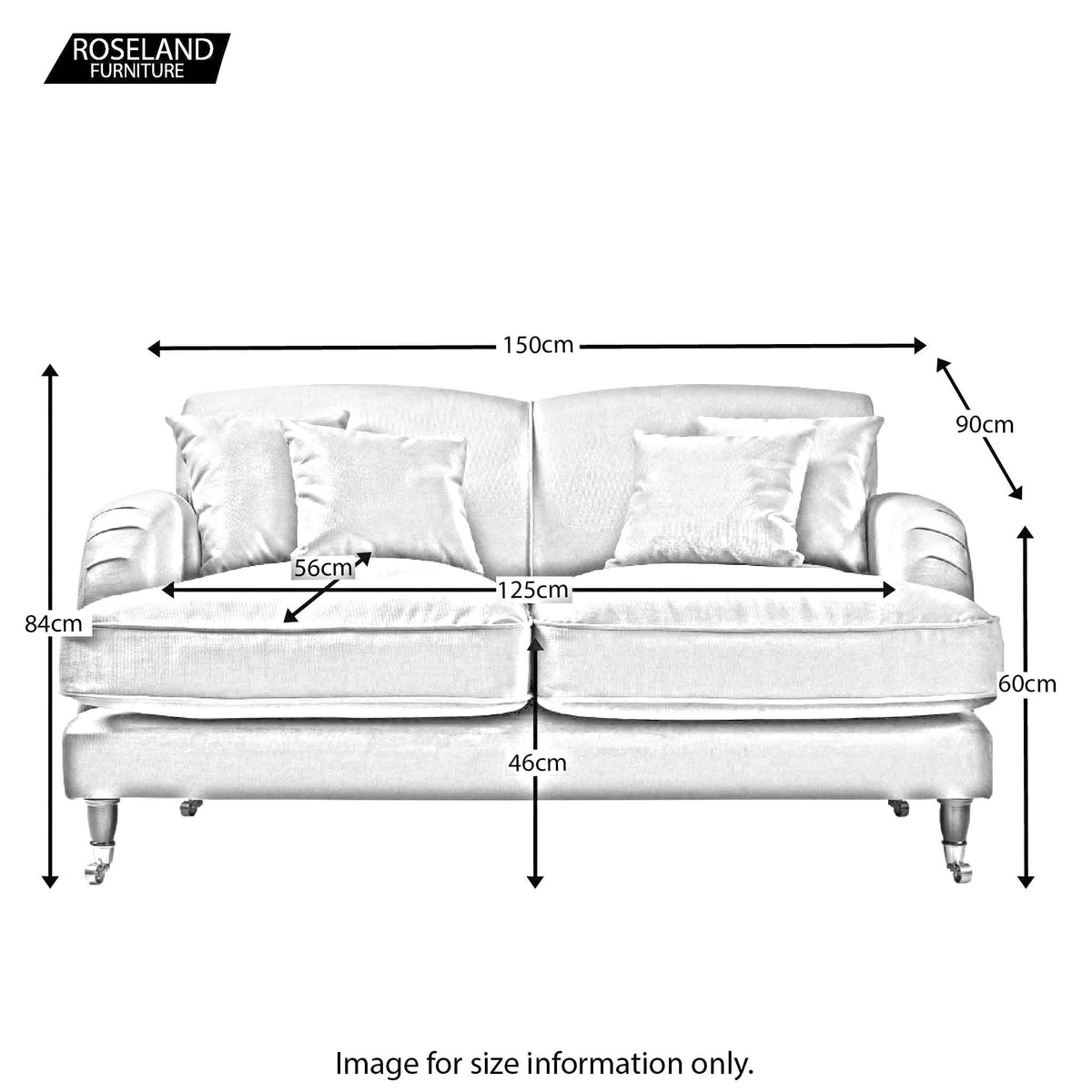 Piper 2 Seater Sofa - Size Guide