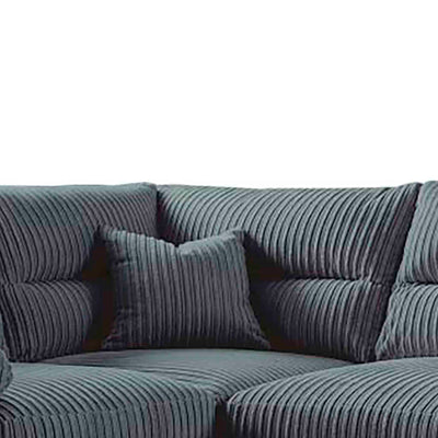 close up of the accent pillow on the Amalfi Charcoal Corner Fabric Sofa