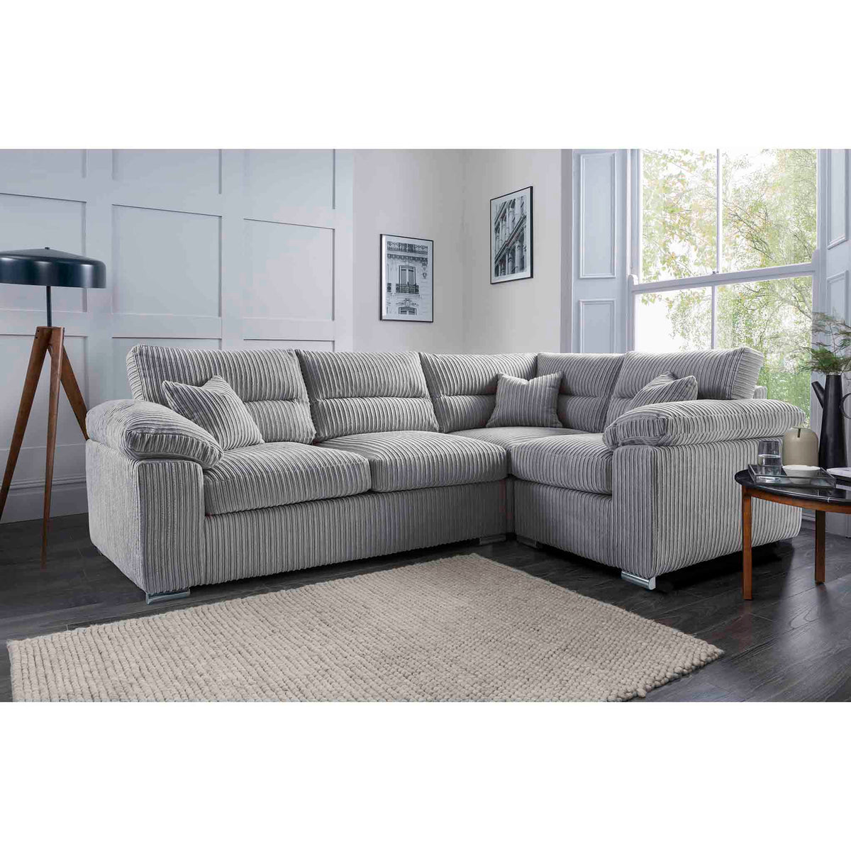 Amalfi Silver Left Hand Corner Fabric Sofa from Roseland Furniture