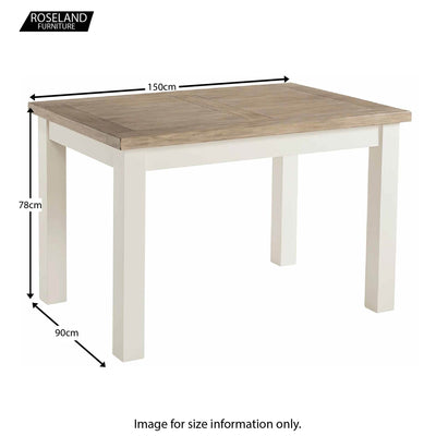 St Ives 150cm Dining Table - Size Guide