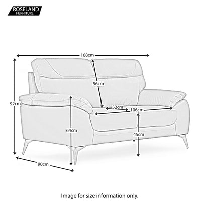 Roma 2 Seater Leather Sofa - Size Guide