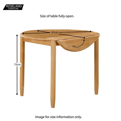 Cologne Round Drop Leaf Dining Table - Size Guide