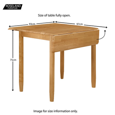 Cologne Square Drop Leaf Dining Table - Size guide