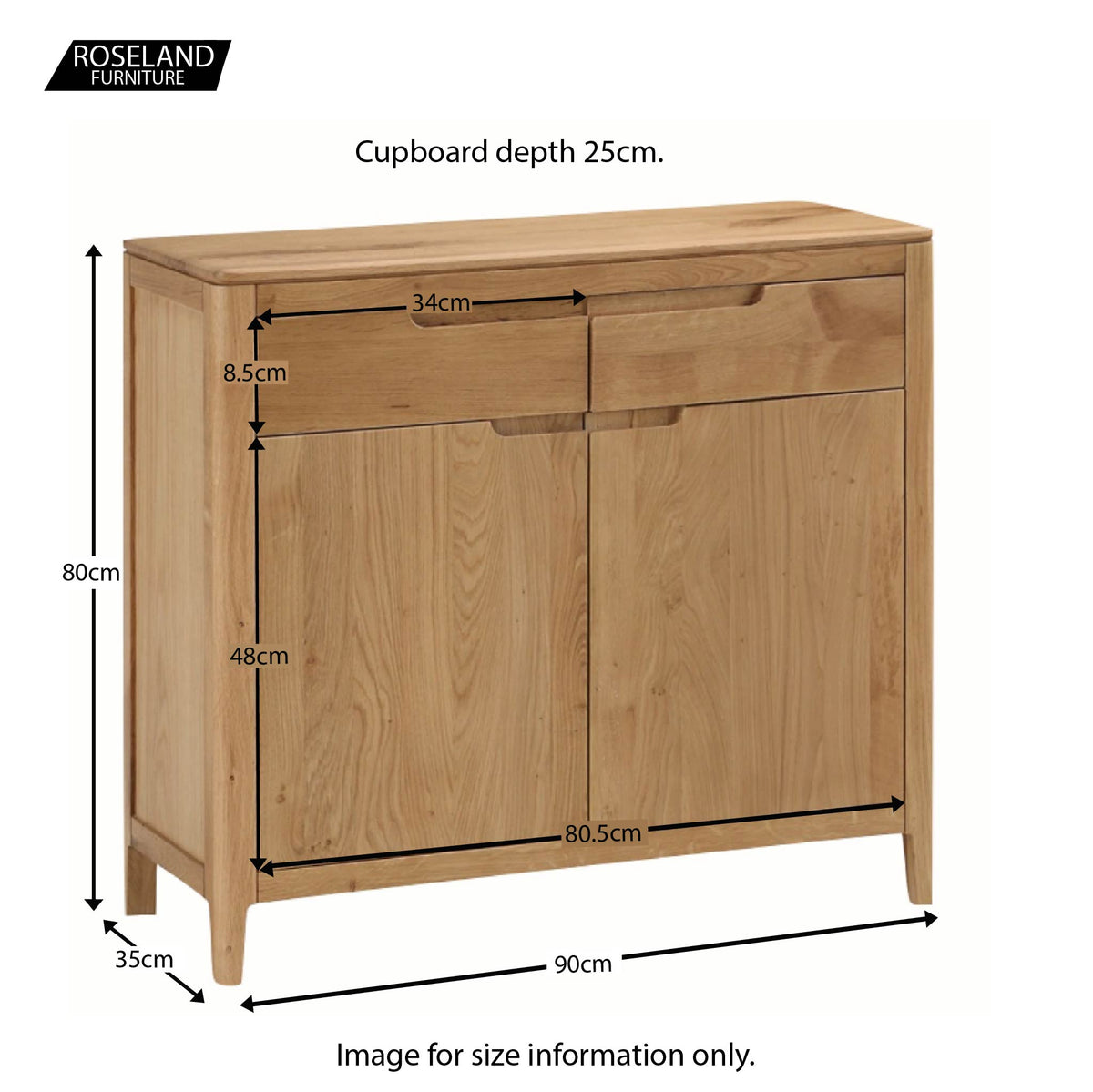 Dunmore Oak 2 Door Sideboard - Size guide