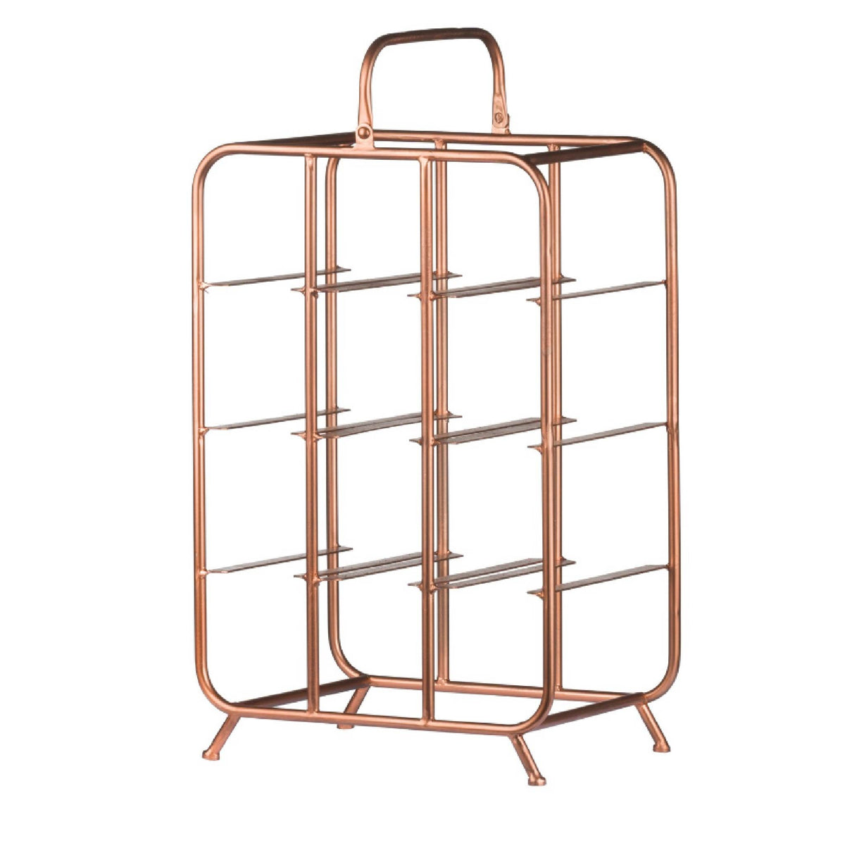 Industrial Copper 9 Bottle Wine Rack Holder