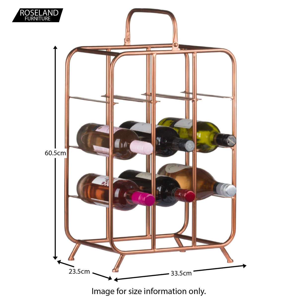Industrial Copper 9 Bottle Wine Rack Holder - Size Guide