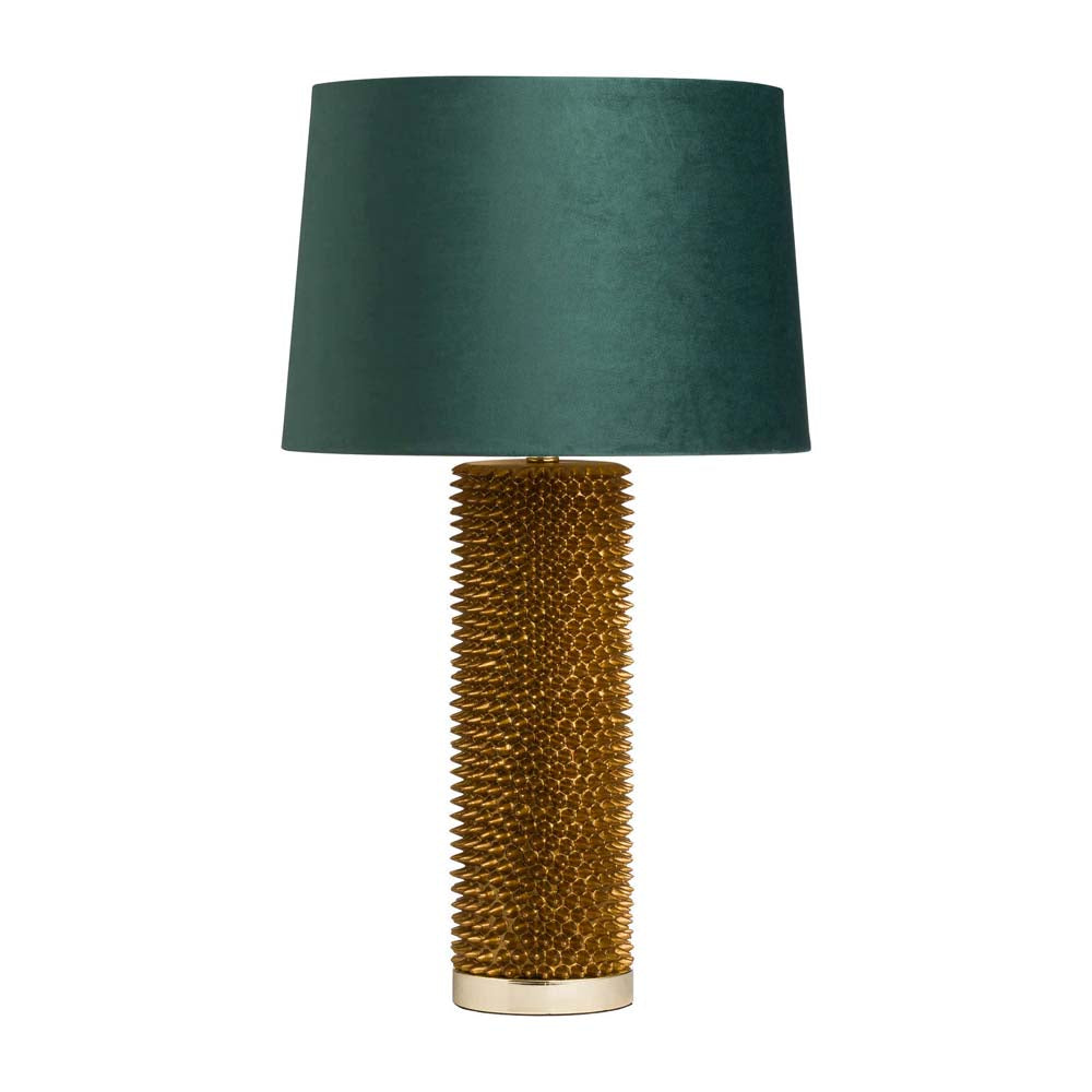Antique Gold Acantho Lamp With Emerald Velvet Shade