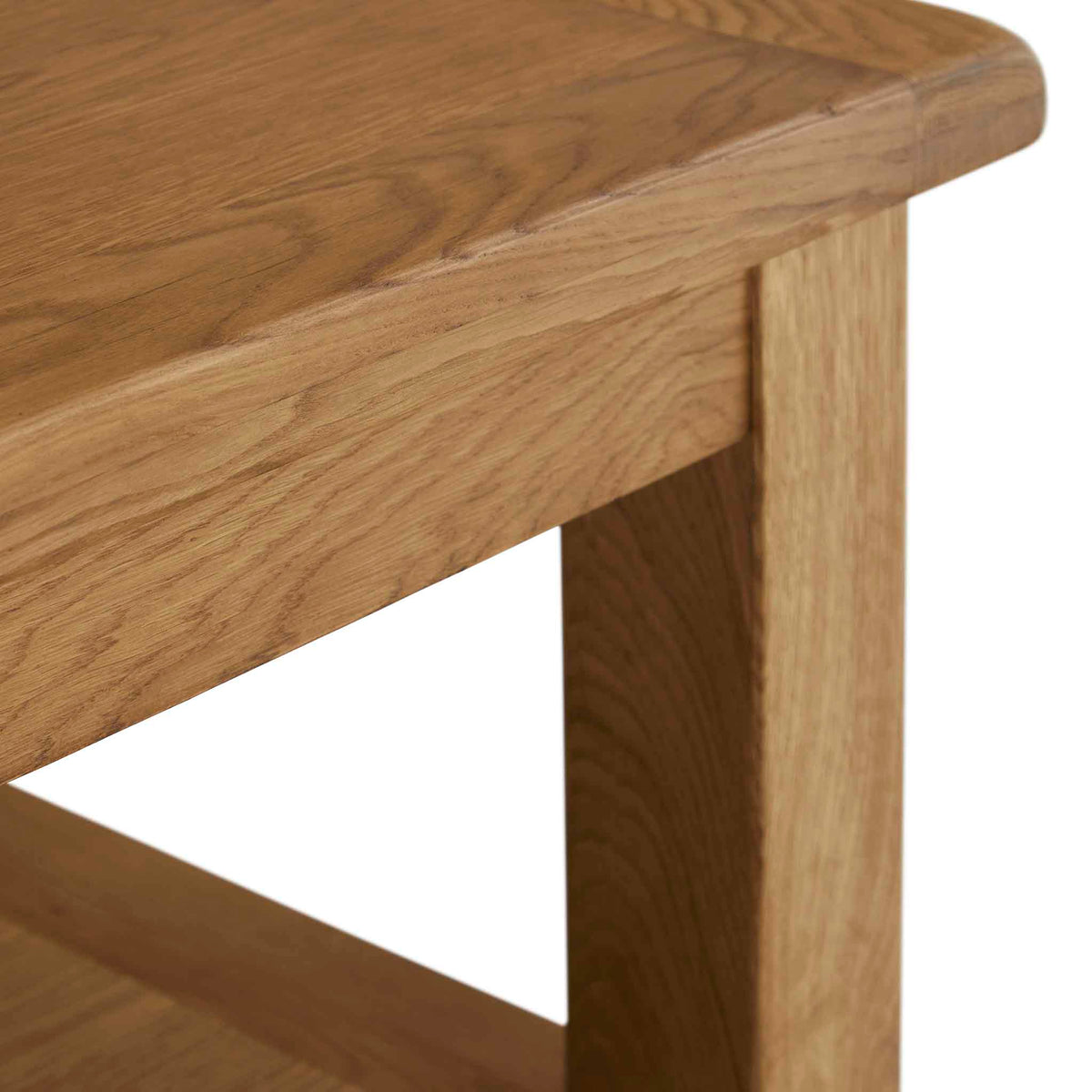 Zelah Oak Large Coffee Table - Close up of corner of table
