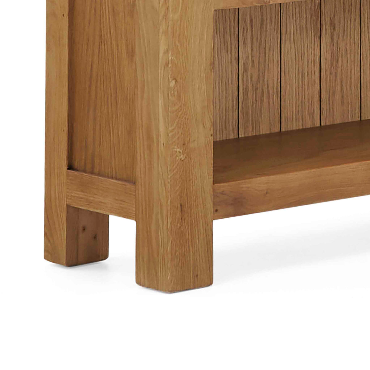 Zelah Oak Small Bookcase - Close up of feet of bookcase