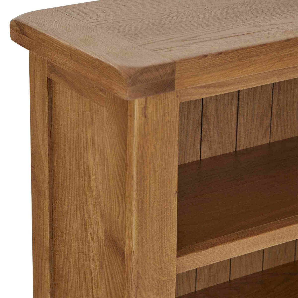 Zelah Oak Small Bookcase - Close up of top