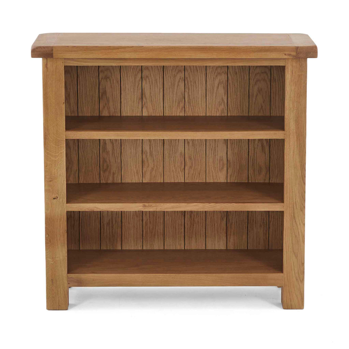 Zelah Oak Small Bookcase - Front view showing top