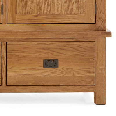 Zelah Oak Large Triple Wardrobe - Close up of drawer front