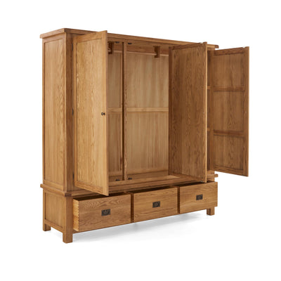 Zelah Oak Large Triple Wardrobe with Drawers by Roseland Furniture