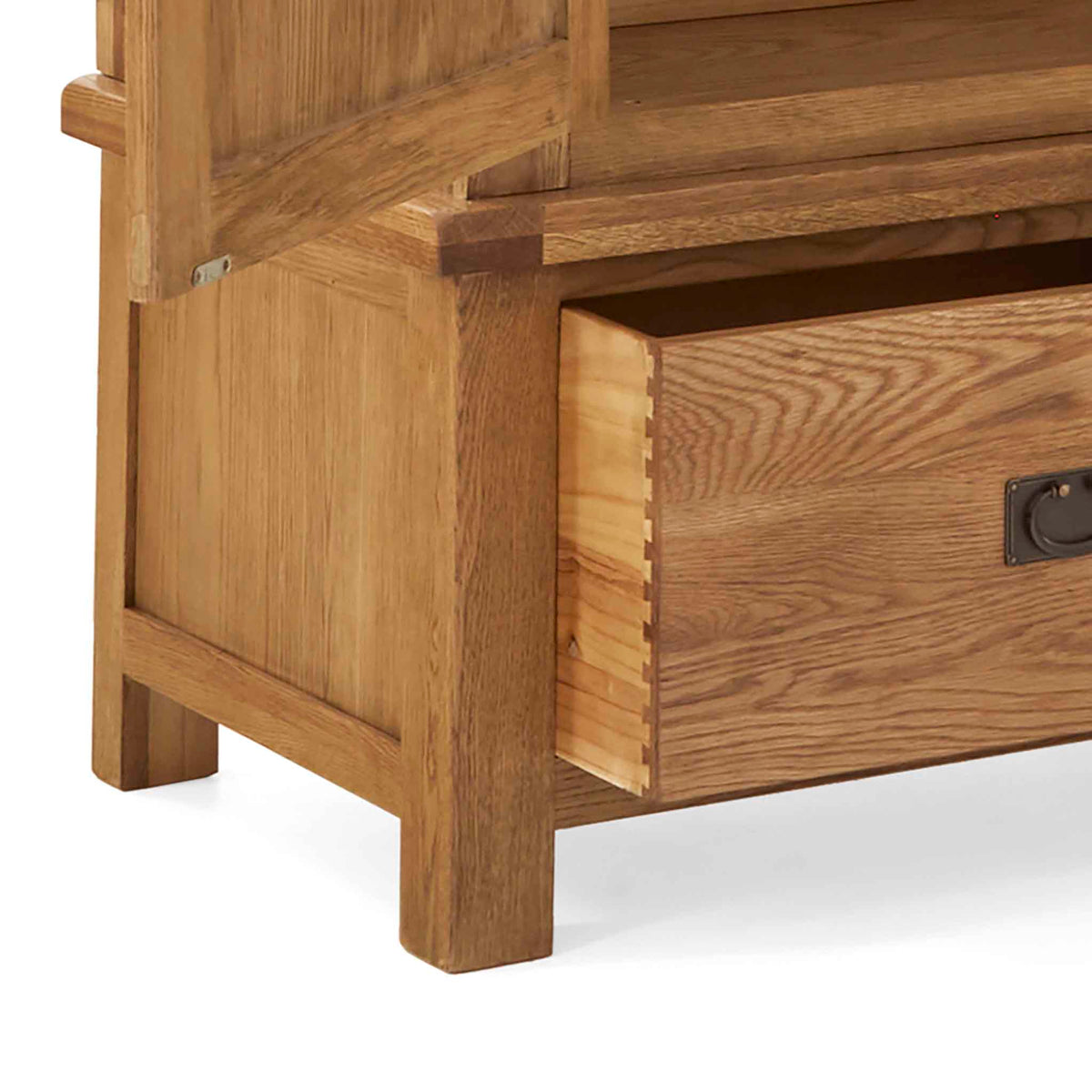 Zelah Oak Large Triple Wardrobe with Drawers - Close up of feet on wardrobe