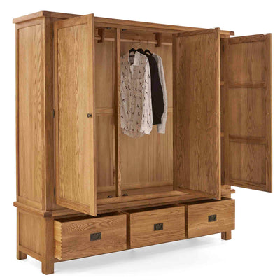 Zelah Oak Large Triple Wardrobe with Drawers