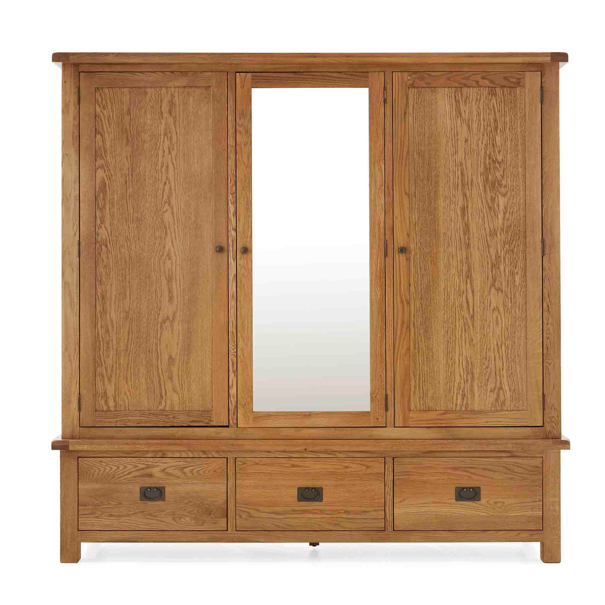 Zelah Oak Large Triple Wardrobe with Drawers - Front View
