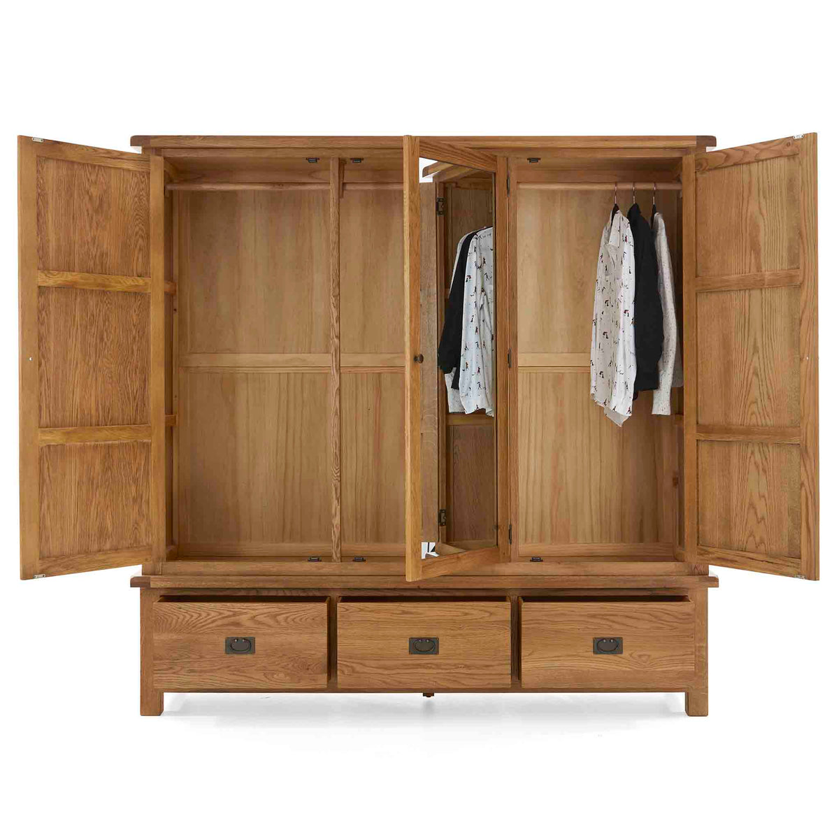 Zelah Oak Large Triple Wardrobe with Drawers - All wardrobe doors open with shirts hanging