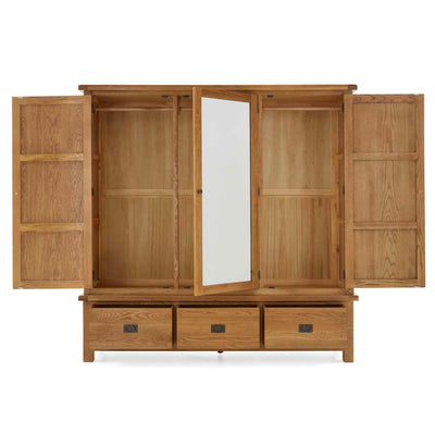 Zelah Oak Large Triple Wardrobe with Drawers - All wardrobe doors open