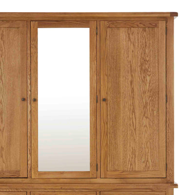 Zelah Oak Large Triple Wardrobe with Drawers - Close up of front of wardrobe doors and mirror