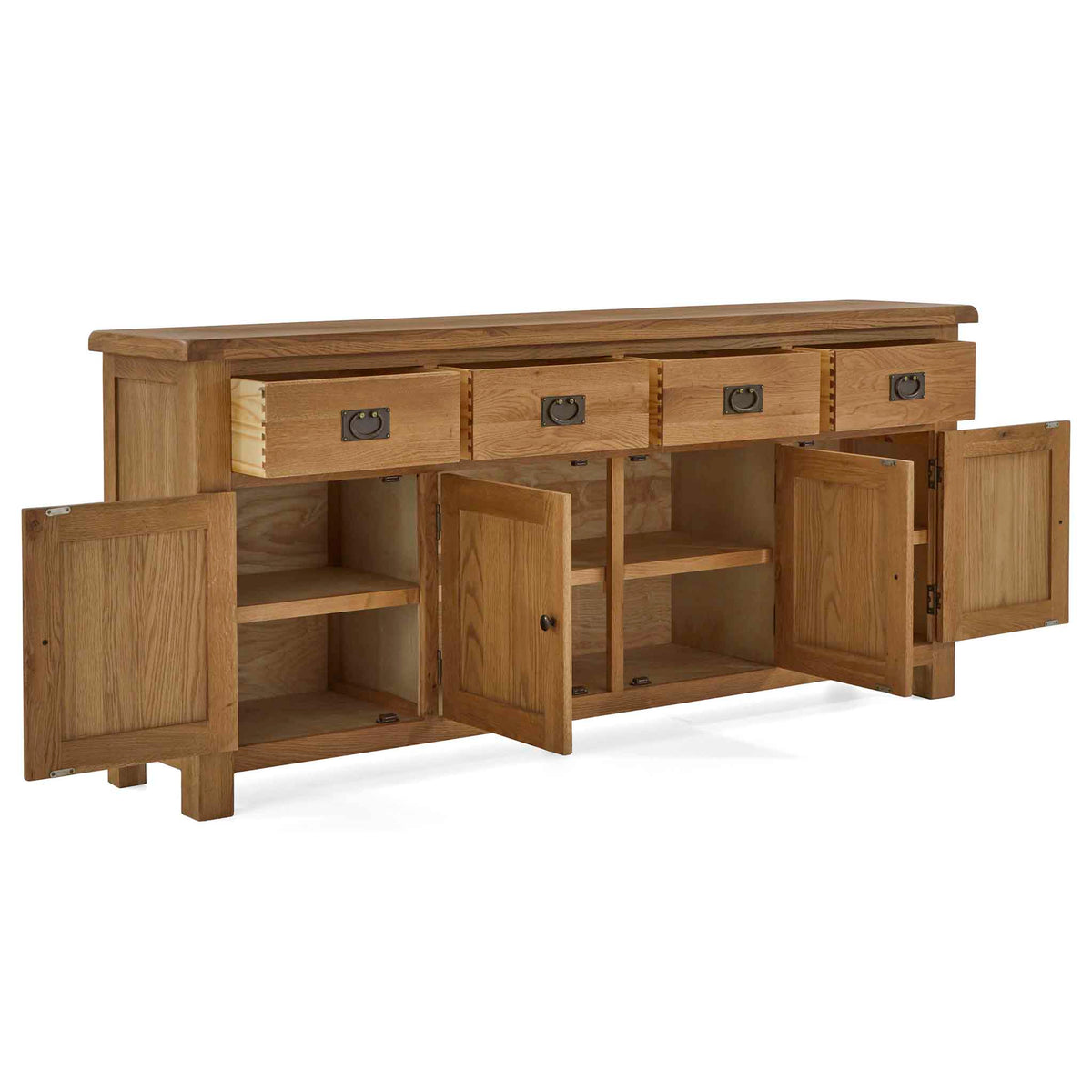 Zelah Oak Extra Large Sideboard - With cupboards and drawers open