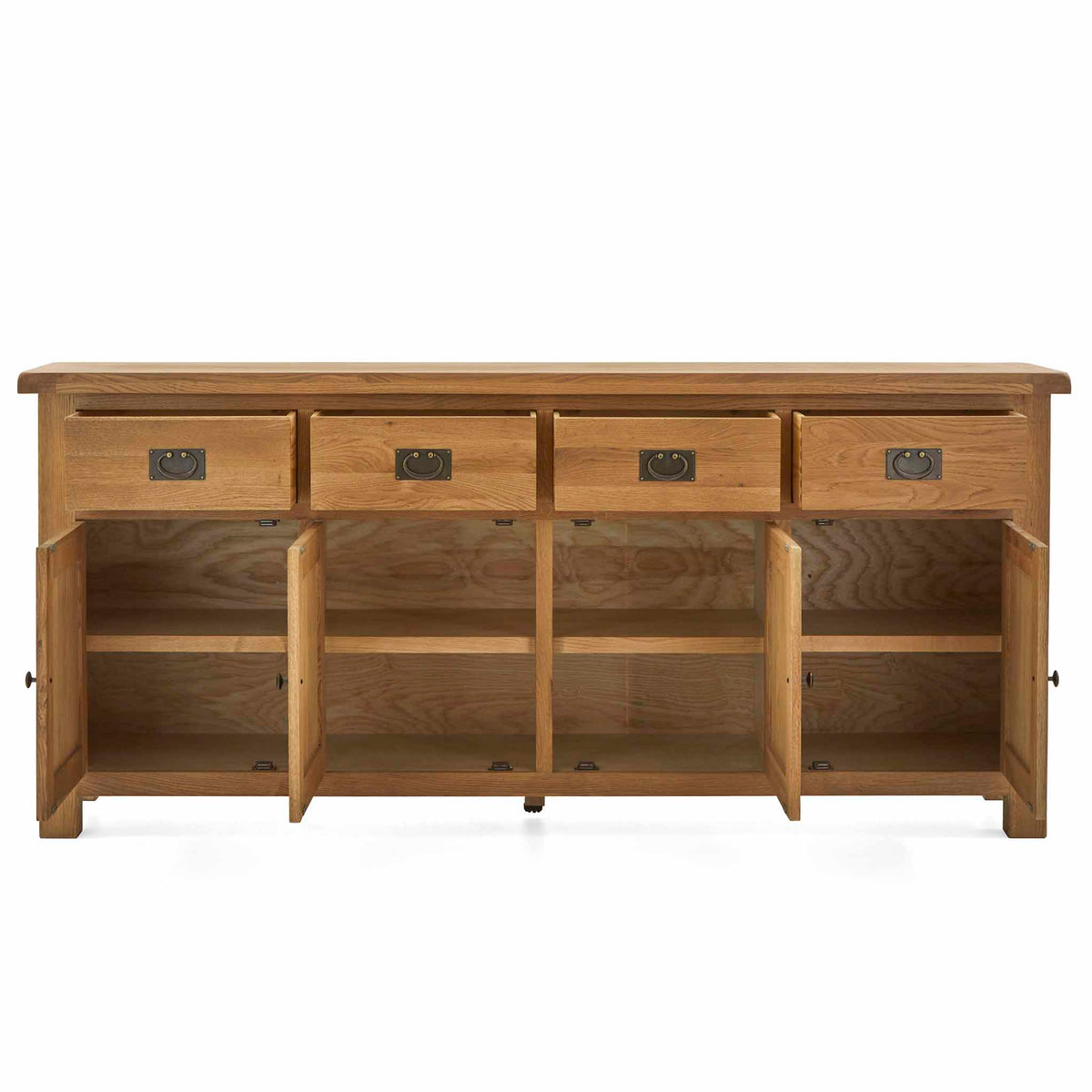 Zelah Oak Extra Large Sideboard - Front view with cupboards and drawers open