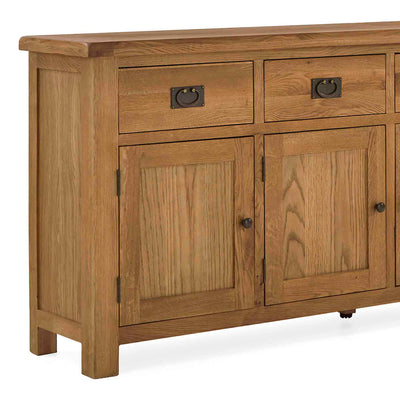 Zelah Oak Extra Large Sideboard - Close up of front of drawers and cupboard