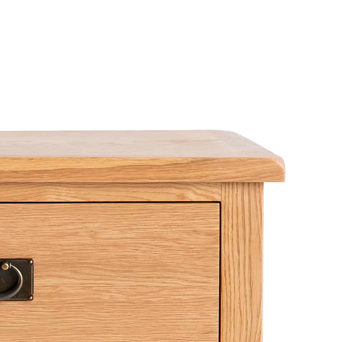 Surrey Oak Large Chest Of Drawers - Close up of top of drawers