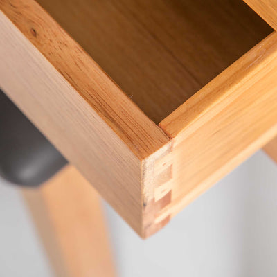 close up of opened drawer on the Surrey Oak Dressing Table Set