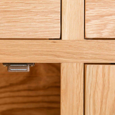 close up of solid wood frame and magnetic door lock on London Oak Large Sideboard