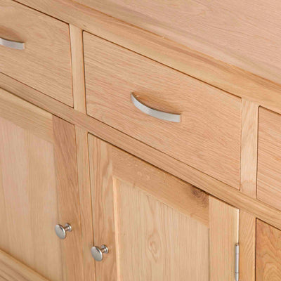 London Oak Large Sideboard  - Close up of drawers