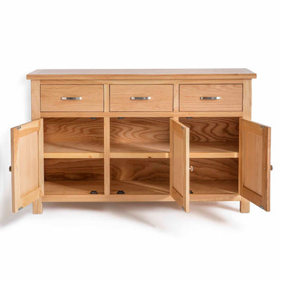 London Oak Large Sideboard - Front view with Cupboard Doors Open