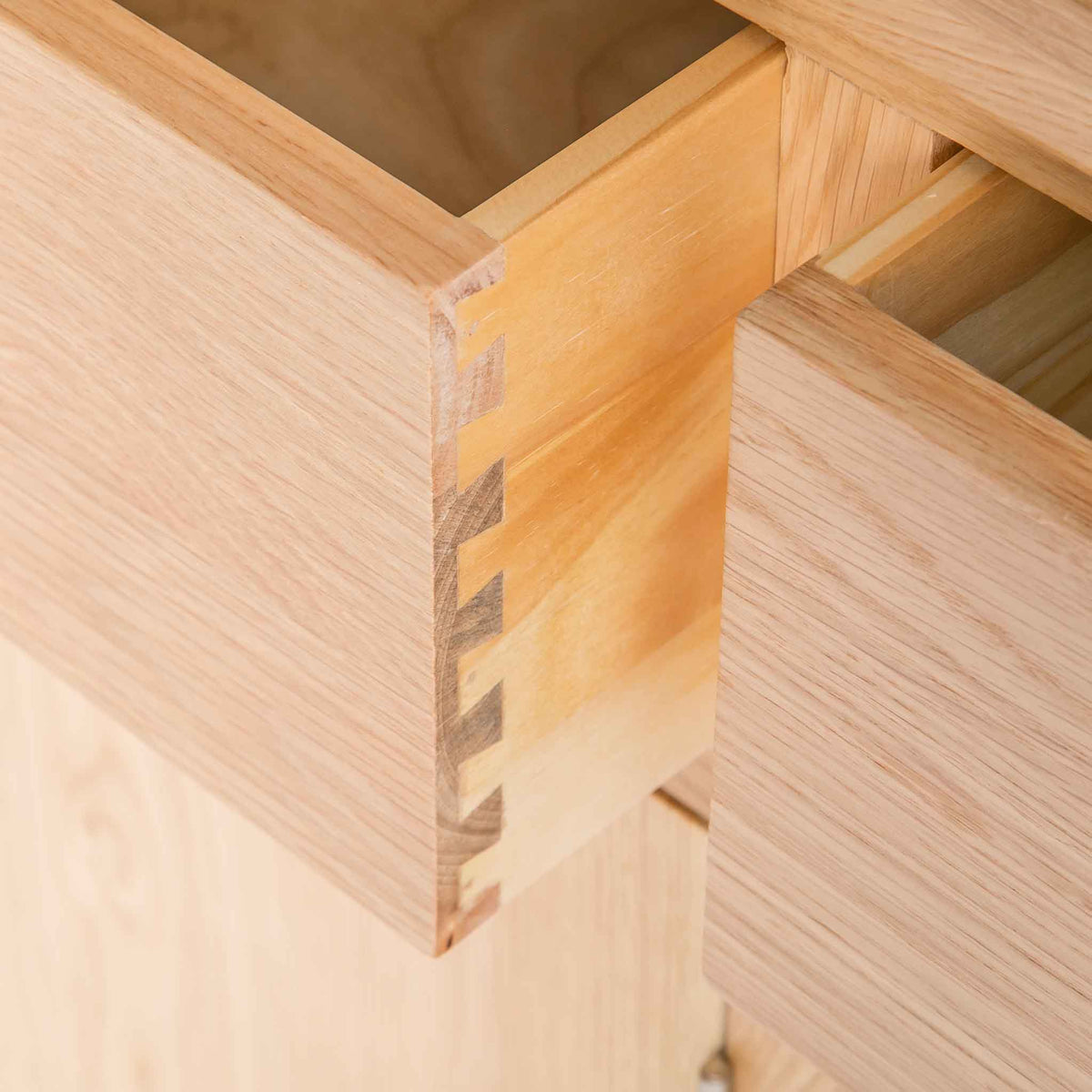 close up of dovetail joints on London Oak Large Sideboard