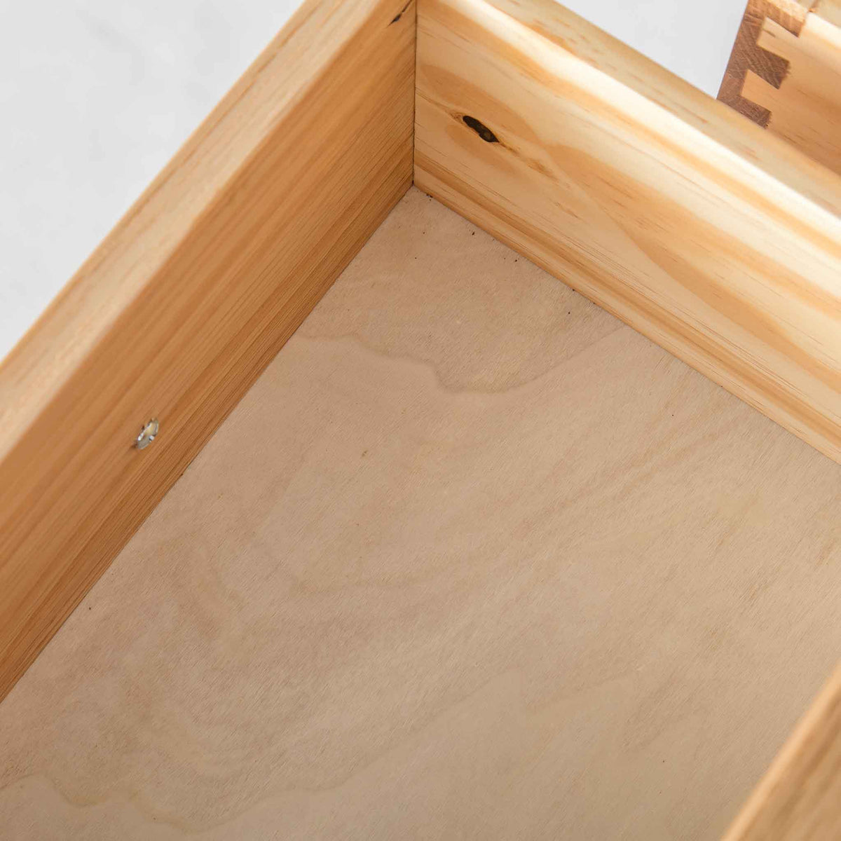 close up of internal drawer on the London Oak 2 over 3 Chest of Drawers