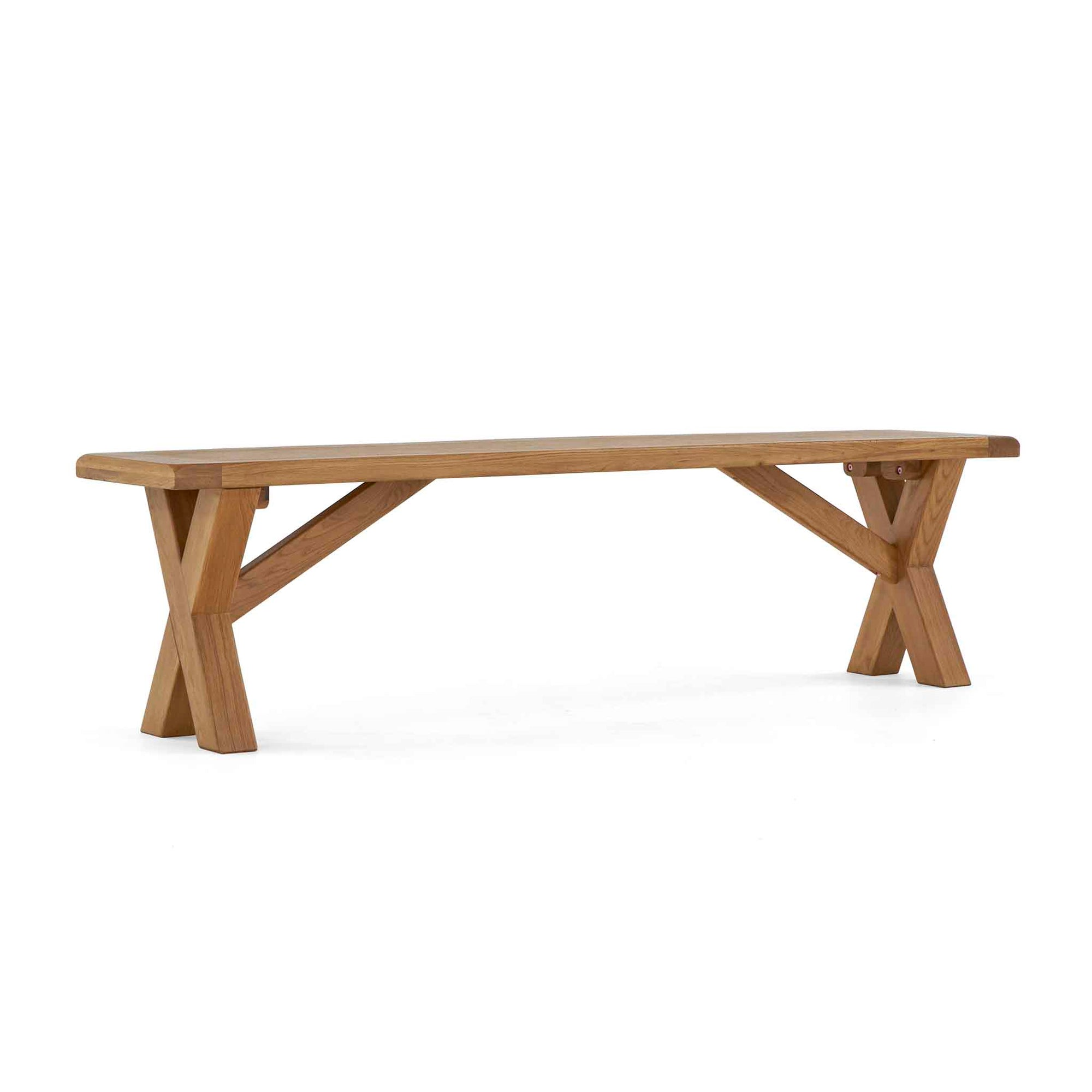 Zelah Oak Cross Legged Bench by Roseland Furniture