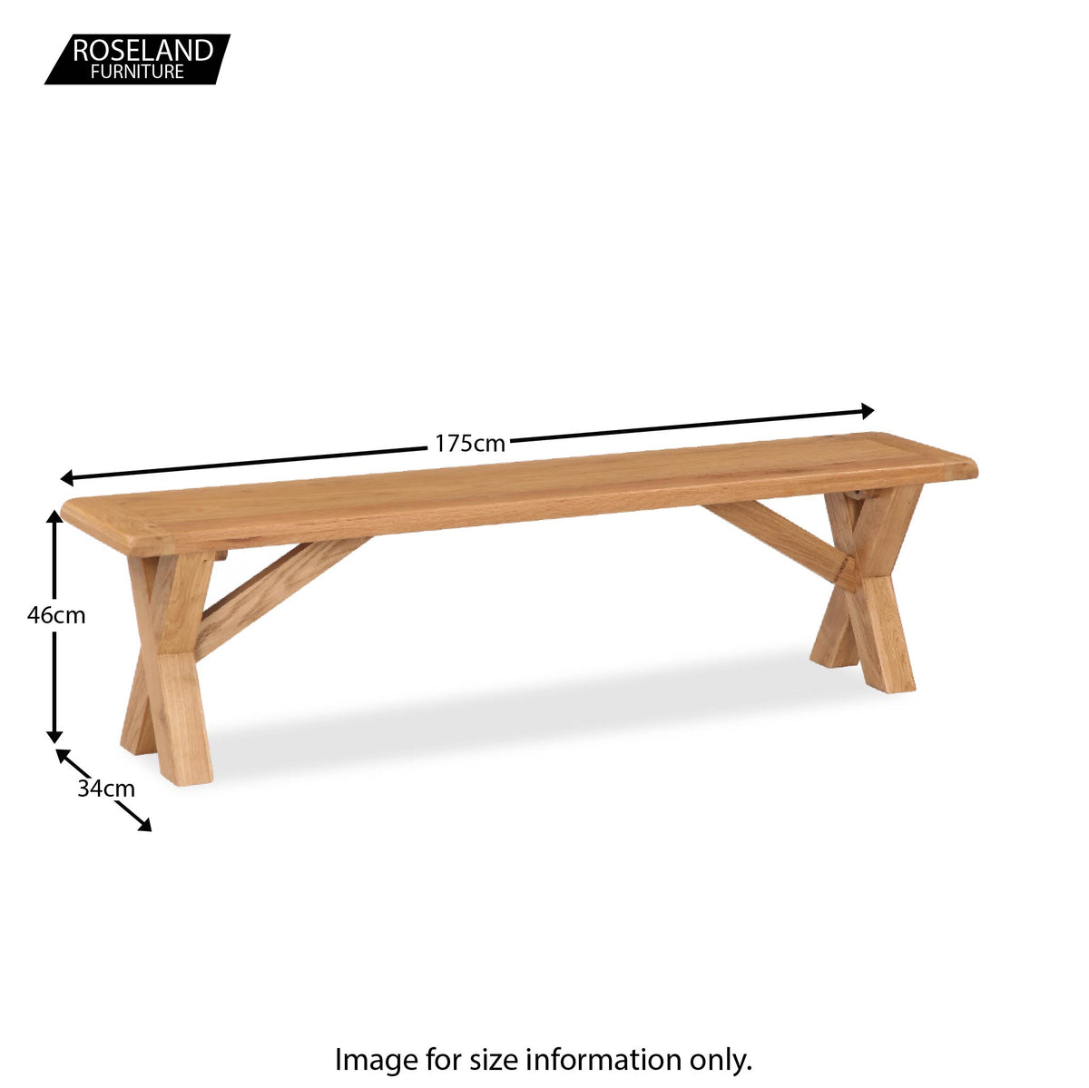Zelah Oak Cross Legged Bench - Size Guide