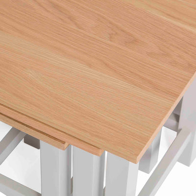 Farrow Grey Nest of Tables - Close up of oak tops when nested