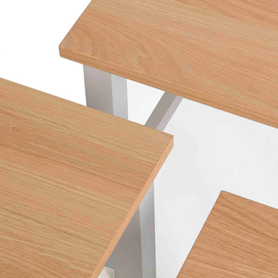 Farrow Grey Nest of Tables - Close up of oak tops