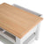 Farrow Grey Coffee Table with Drawer - Top view of oak top and open drawer