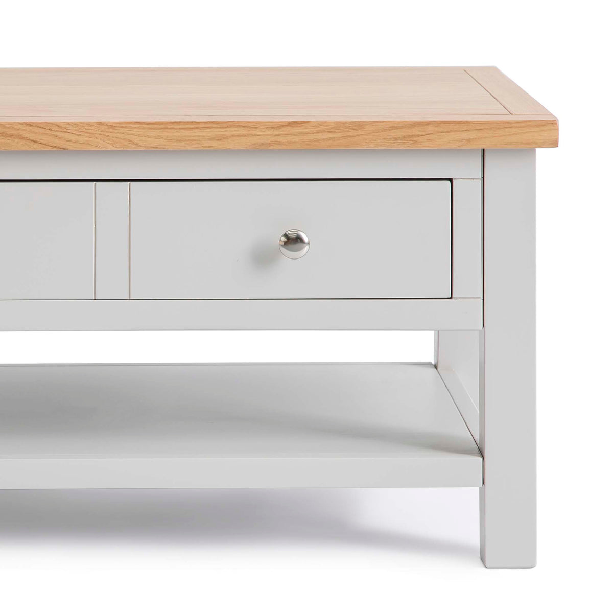 Farrow Grey Coffee Table with Drawer - Close up of front  of drawer