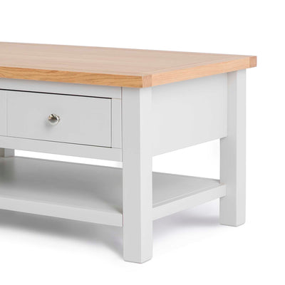 Farrow Grey Coffee Table with Drawer - Close up of lower shelf